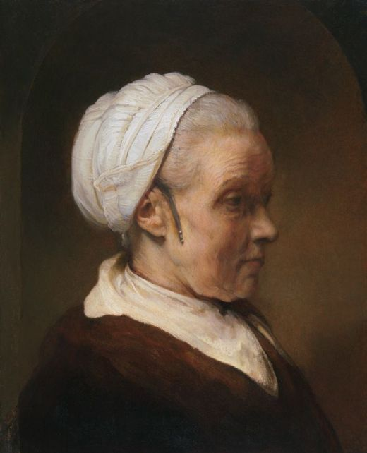 Rembrandt van Rijn; Study of an Elderly Woman in a White Cap; c. 1640; Oil on panel; 28 5/16 x 21 7/8 x 2 1/2 in.; © Private Collection, New York  If you zoom into this one and look at the very corner of the cap on the inside, I see what looks like a button hole or eyelet. Suspect that is a spot for the Oorijzer to be hooked on.