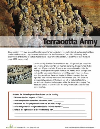 terracotta army essay Terracotta, terra cotta or terra-cotta a type of earthenware, is a clay-based  unglazed or glazed  the famous terracotta army of emperor qin shi huang,  209–210 bc, was somewhat untypical, and two thousand years ago reliefs were  more.