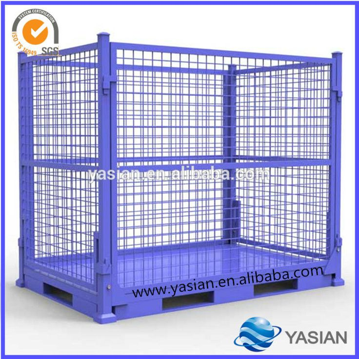Custom Foldable Steel Stillage, Collapsible Storage Cage, Stackable  Warehouse Container