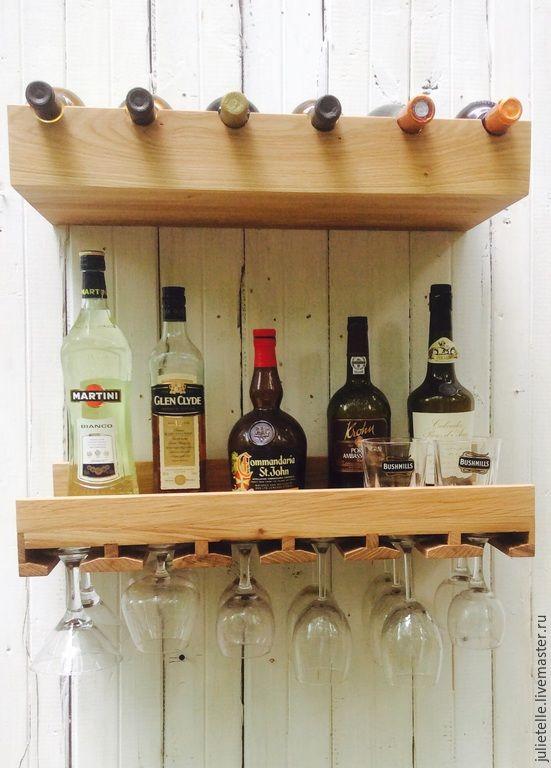 Купить Полки для вина - полка для вина, полка для бокалов, бутылочница, домашний бар, мебель из массива