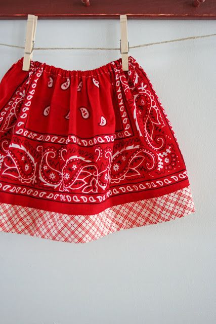 Tutorial: Bandana Skirt - Isn't this cute?  I have a red bandana sitting next to my sewing machine right now.  Guess what I am going to do with it? :)