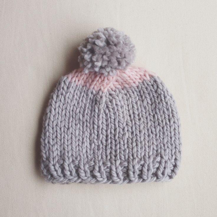 Quick knit baby hat.   #baby #knit #knitting #hat #pink #grey #yarn #hamdmade #gift
