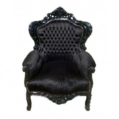 Rococo Arm Chair - Black on Black