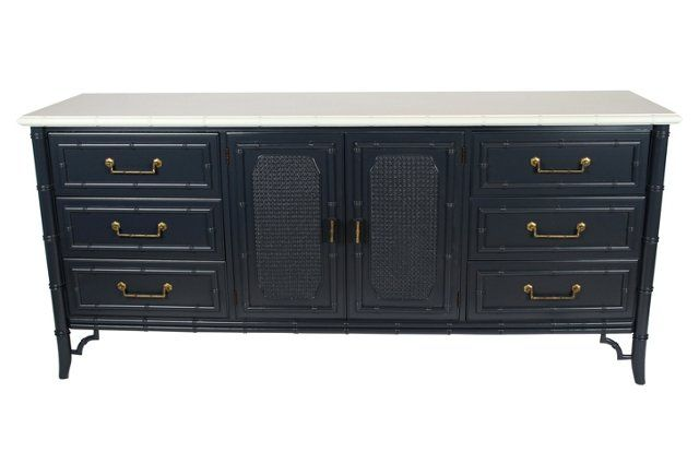 Navy & White Faux-Bamboo    Dresser