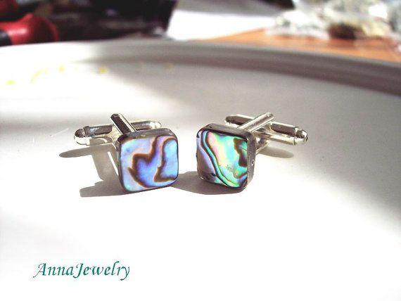 Marin Abalone CuffLinks Shell Abalone Cufflinks by annajewelry64