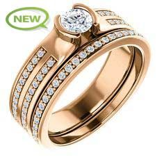 10kt Rose Gold 4.1mm Center Round Genuine Diamond and 44 Accent Round Diamonds Bridal Ring Set...(ST122575:100:P).! Price: $669.99