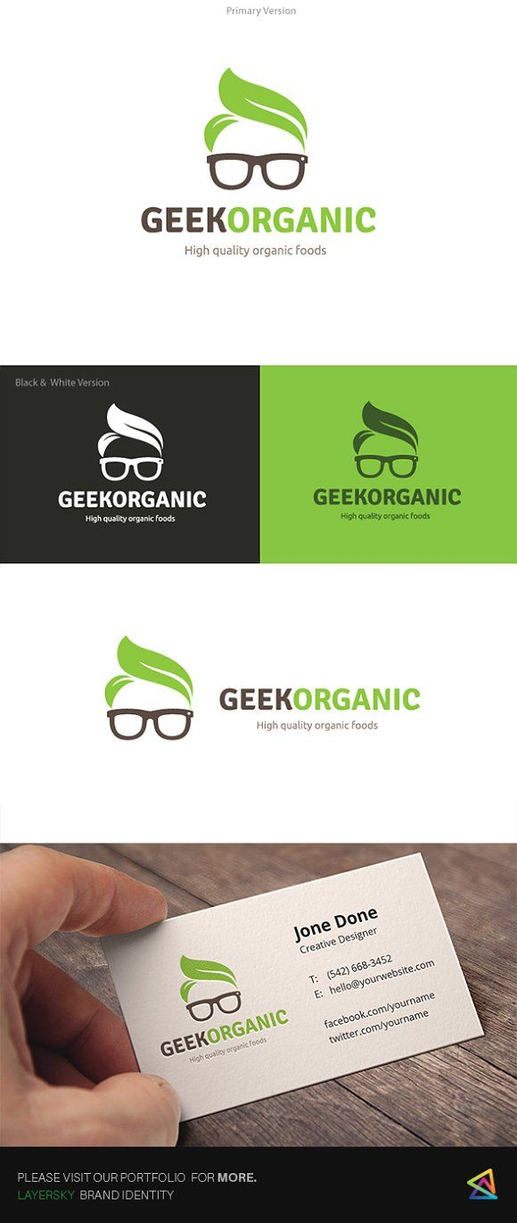 Geek Organic Logo Templates **Logo Template Features **---- 100 Scalable Vector Files- Everything is editable- Everything i by Super Pig Shop