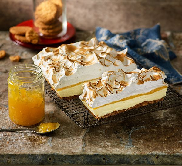 Lemon meringue cheesecake slice: Get the layered look – top a biscuit base with zesty cream cheese, lemon curd and toasted meringue. It's a wonderful slice!