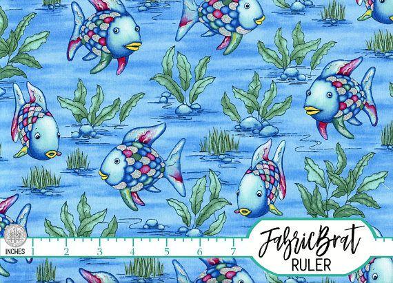 RAINBOW FISH Fabric by the Yard Fat Quarter Blue & Silver