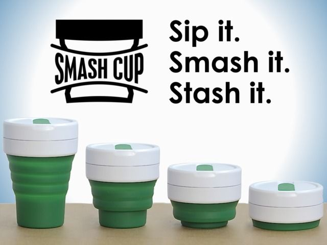 SMASH CUP: A reusable coffee cup that fits in your pocket.  Smash Cup is an ultra-portable, sealed travel cup you keep with you - great for hot drinks (like coffee and tea) and cold ones. When you're not drinking, it collapses into a compact, liquid-tight disk...
