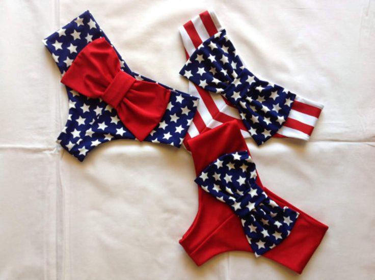 Cheeky Bikini Bow Bottoms Patriotic Colors Flag, Red, White, Blue Stars & Stripes
