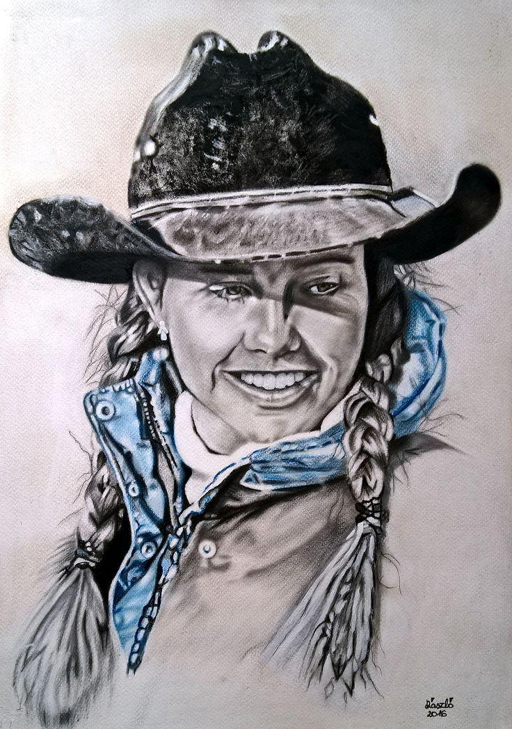 Mű címe: Cowboy csaj portré. Száraz ecset technikával készült olaj festmény Médium:Akvarell papír Ország: Magyarország Művész: Árgyelán László
