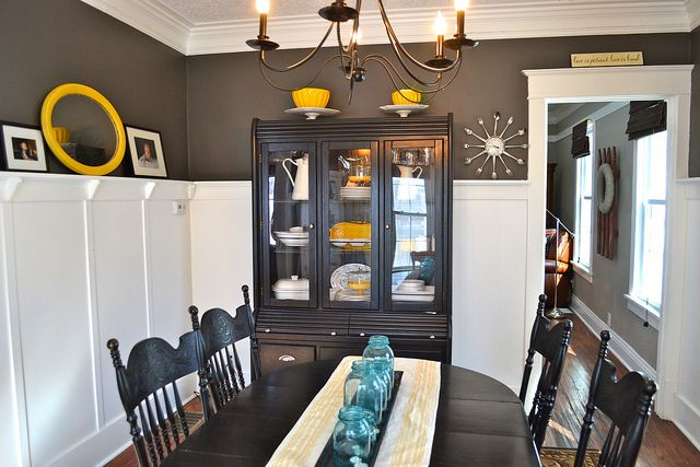 """Dining room in yellow with """"seal"""" walls by Martha Stewart"""