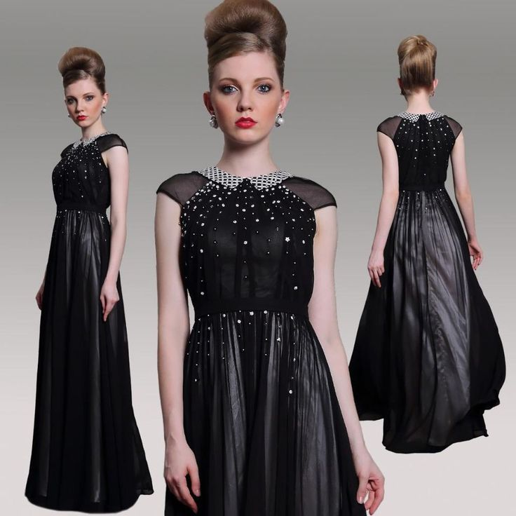 Long Black Evening Gown Party Formal Prom Chiffon Satin Mesh Pleated Dress 30982