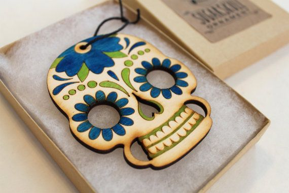 Sugar Skull Day of the Dead ornament, blue, green, and natural birch wood color way