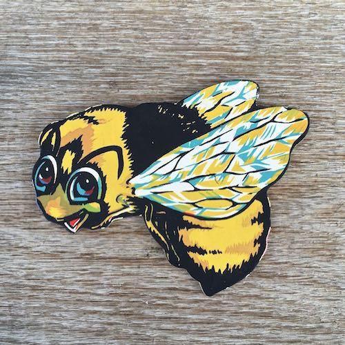 Original Sign BUMBLEBEE BEE DIECUT Dimestore Cardboard Figural DISPLAY Signs