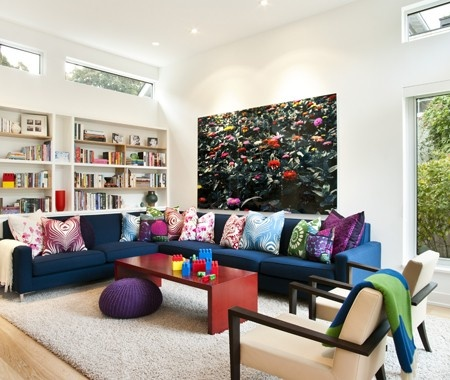 Colourful Family Room Large Scale Art Fills An Otherwise Bare Wall And Complements The