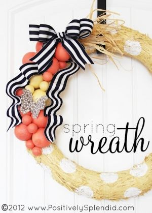 Coral and navy spring wreath. Love the polka dots;Wreaths Tutorials, Ideas, Polka Dots, Positive Splendid, Spring Decor, Front Doors, Fall Wreaths, Spring Wreaths, Crafts