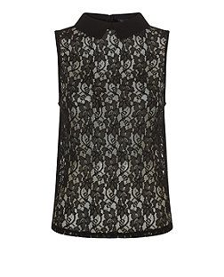Black (Black) Black Collared Corded Lace Boxy Shell Top    313144001   New Look
