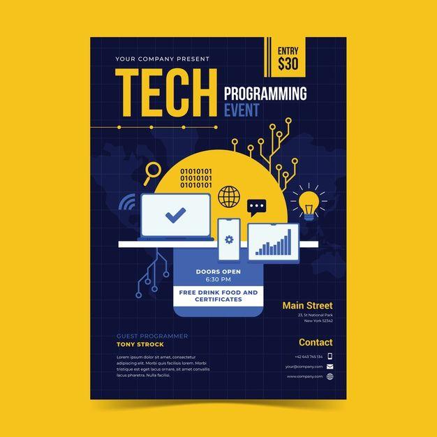 Download Event Programming Poster Template For Free Di 2020 Desain Pamflet Desain