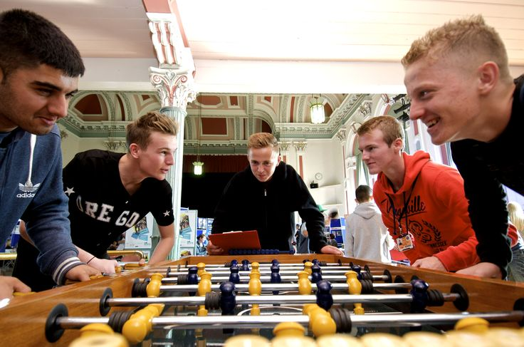 Having a go at the football table available in our Salt Rock Cafe