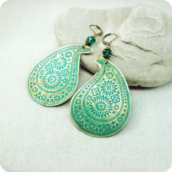 Beautiful earrings.Blue Patinas, Style, Green Blue, Blue Green, Earrings Paisley, Brass Earrings, Jewelry, Accessories, Paisley Earrings