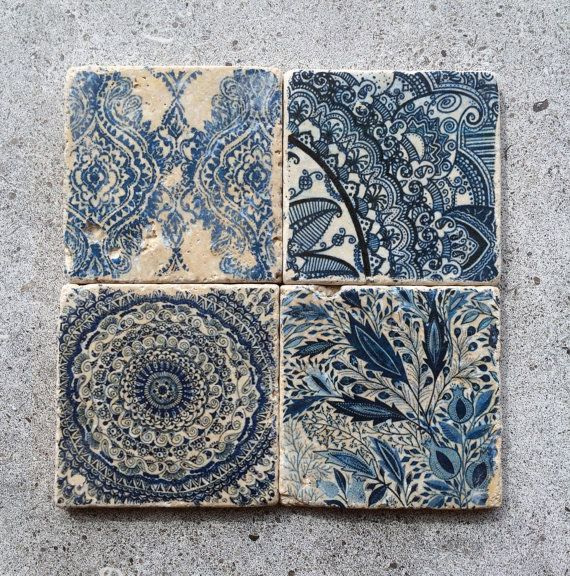 Blue Moroccan Coasters/Stone Coasters/ Blue Patttern/ Boho inspired