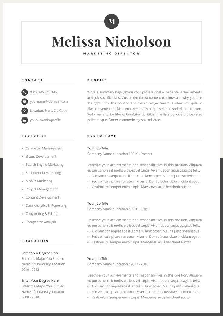 Modern Resume Template Creative Cv For Word Elegant Design Etsy Modern Resume Template Creative Cv Good Resume Examples