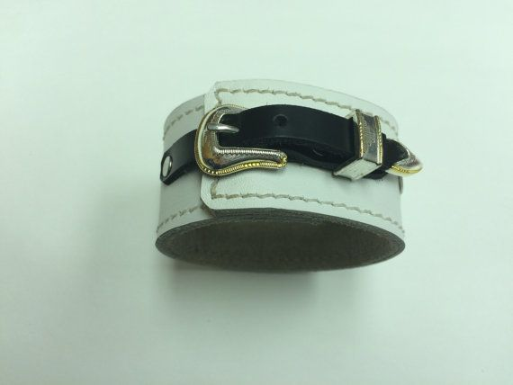 Leather Cuff Bracelet White Leather Buckle by StarBoundWestern