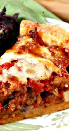 Deep Dish Chicago Style Pizza Recipe ~ Homemade Chicago Style Deep Dish Pizza with Italian Sausage