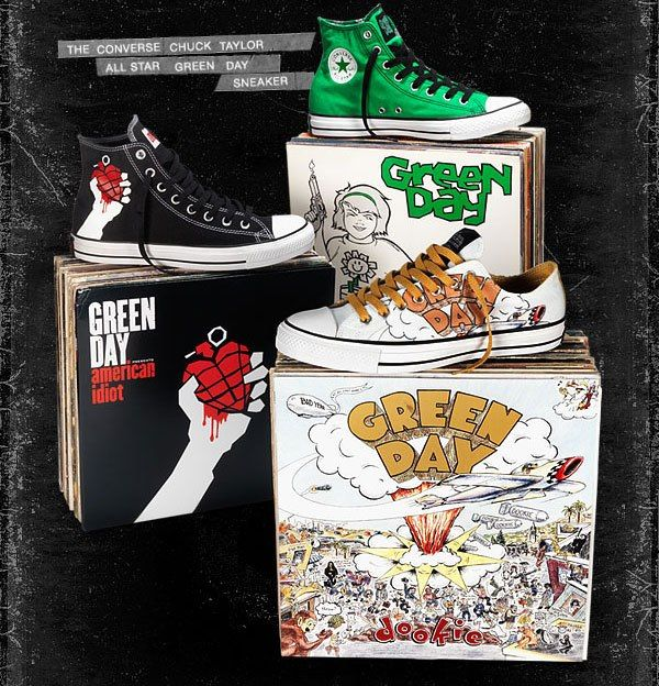 Green Day shoes! Who is going to wear the American Idiot shoes on the left to the show??     In San Diego May 28-June 2, 2013