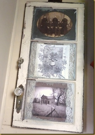 gorgeous way to frame out your pictures with layers in this old window - by The Vintage Bag Lady