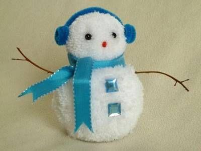 snowman christmas crafts - blue pom pom snowman