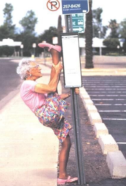 This makes me think of how my mom will be at this age. I obviously didn't inherit her exercise prowess. lol