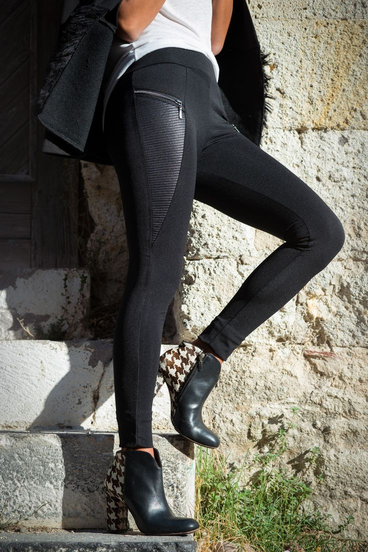 Siyah Deri Garnili Tayt Pantolon YL-1099 Trend: Alaçatı Stili | Trendyol