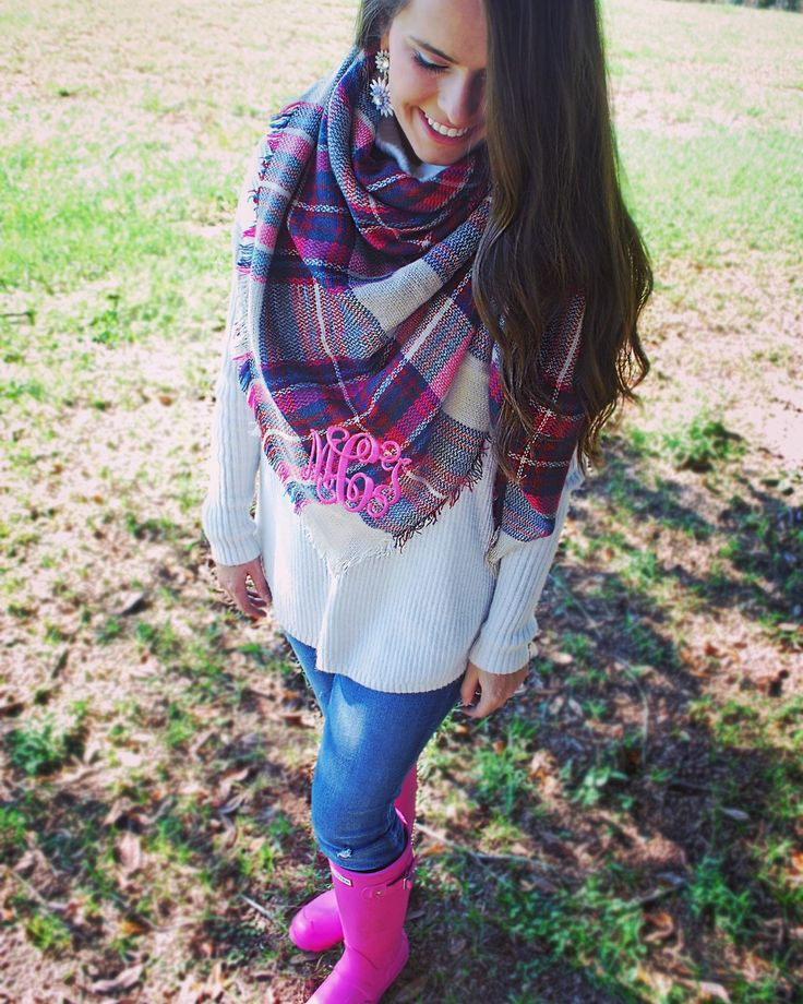 A personal favorite from my Etsy shop https://www.etsy.com/listing/256117126/madison-monogrammed-plaid-blanket-scarf