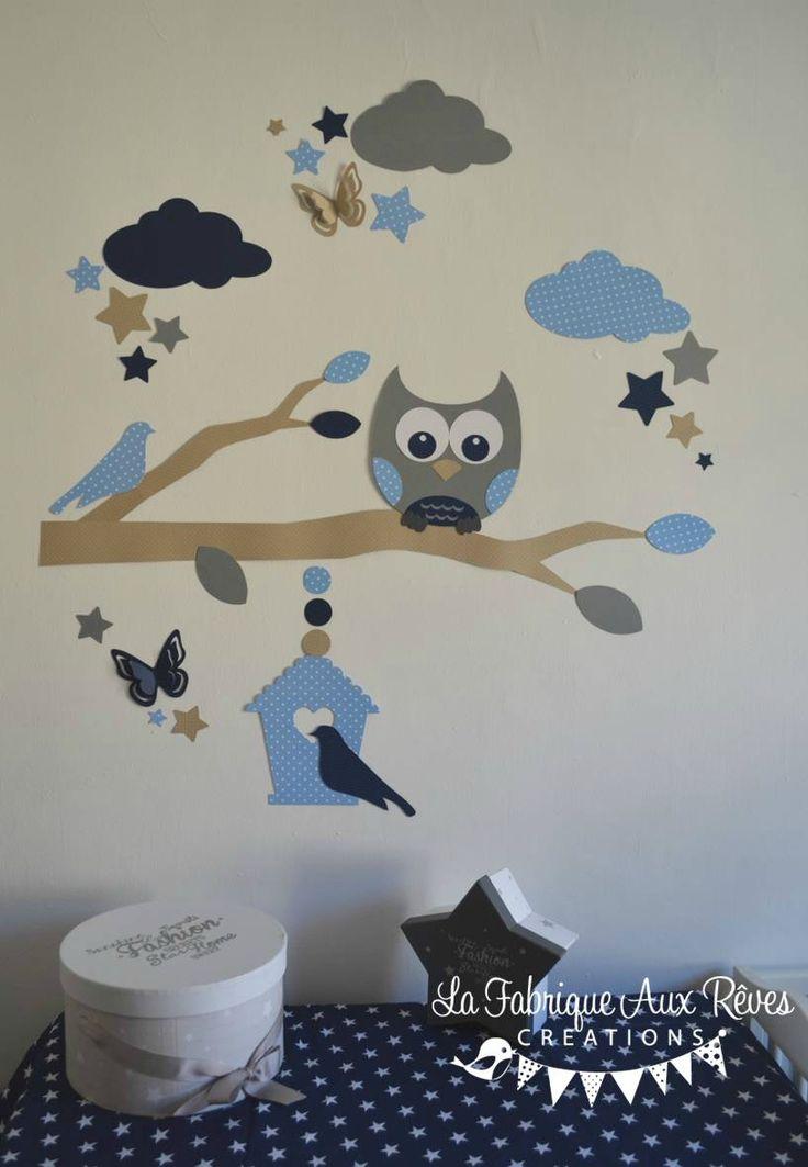 stickers hibou chouette branche nuage étoiles nichoir bleu marine ciel craft gris