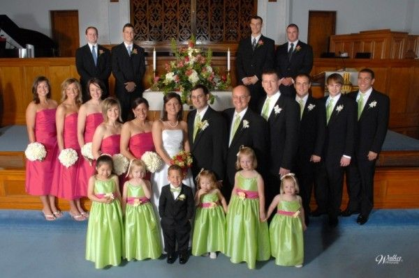 bridal party color - fuchsia dress, green tie