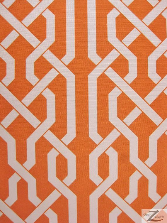 Roman Style Waterproof Outdoor Fabric  ORANGE/WHITE  by BigZFabric
