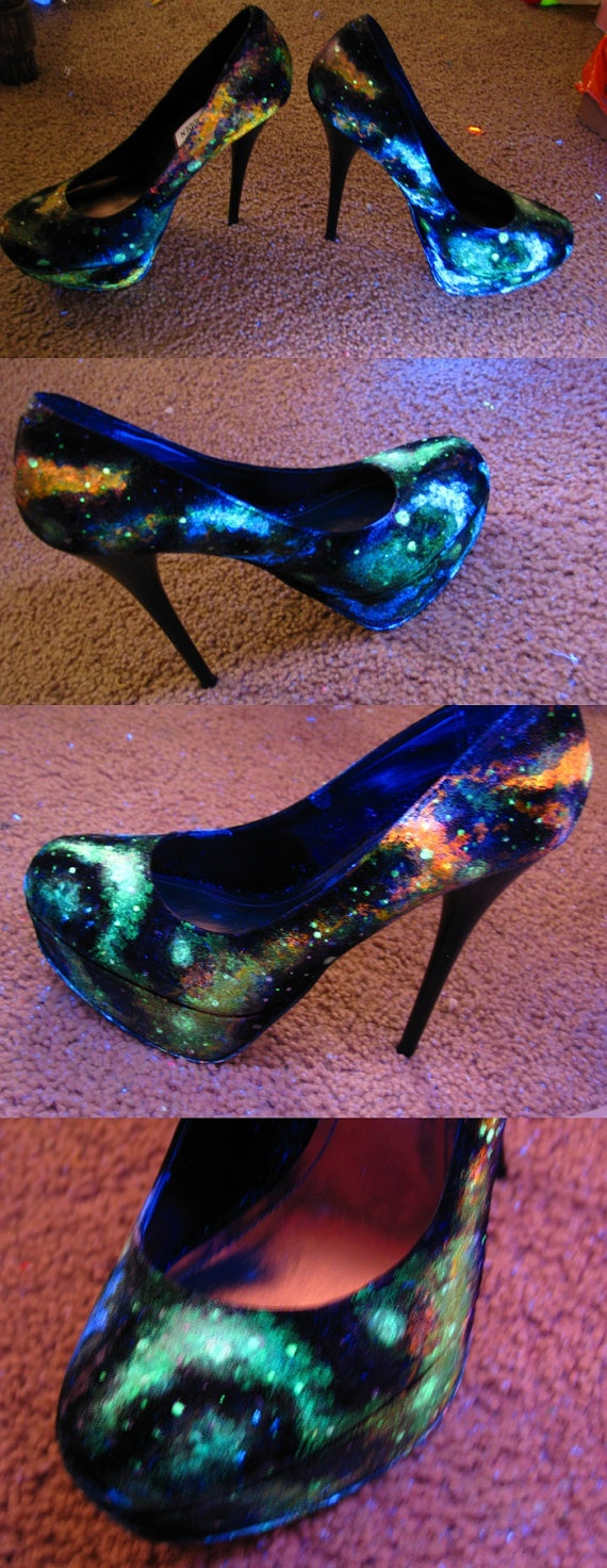 Galaxy Heels // UV/Blacklight & Glow in the Dark
