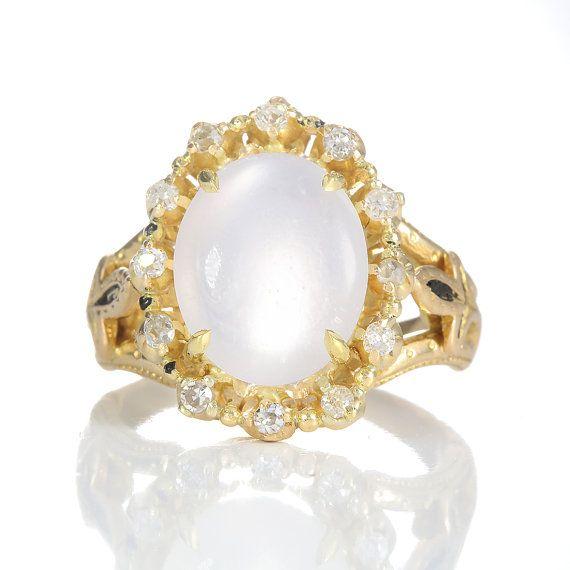 Antique Victorian moonstone and diamonds by DavidJThomasJewelry
