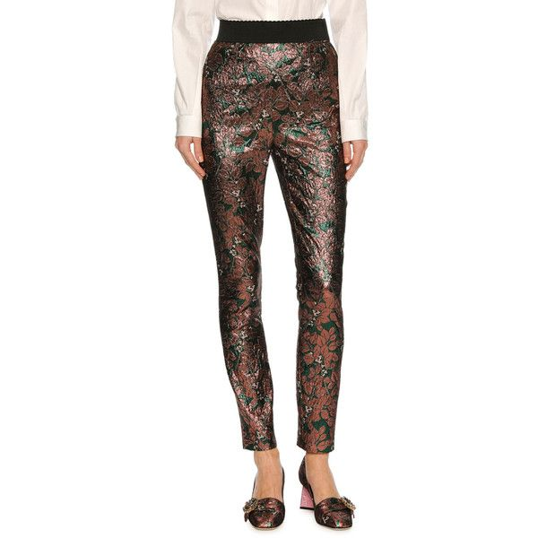 Dolce & Gabbana Floral Jacquard High-Waist Leggings (15.480 ARS) ❤ liked on Polyvore featuring pants, leggings, floral leggings, flower print leggings, floral print leggings, skinny leggings and high waisted pants