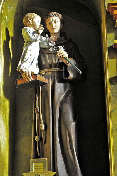 St Anthony of Padua | http://www.saintnook.com/saints/anthony-of-padua/ | File:Poertschach Pfarrkirche hl Johannes d T re Seitenaltar Heiliger Antonius von Padua 12122012 677.jpg