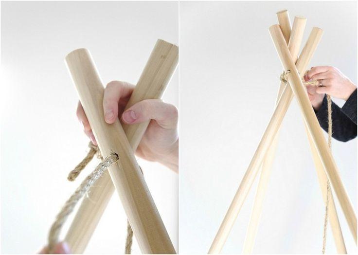 Schritt 2 - Stangen binden und Tipi Zelt selber bauen