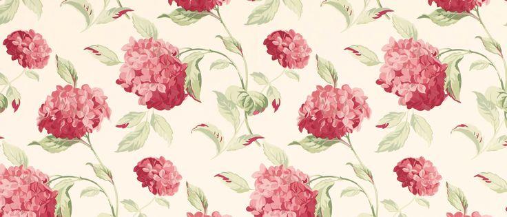 hydrangea cranberry floral wallpaper at laura ashley. Black Bedroom Furniture Sets. Home Design Ideas