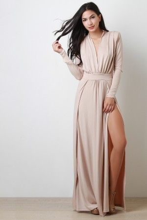 Deep V Long Sleeve Maxi Dress