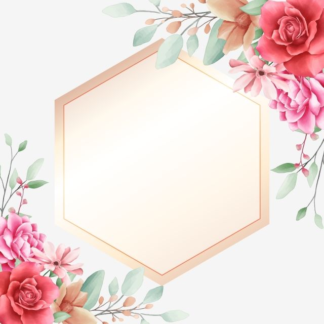 Elegant Floral Border Decorative With Golden Geometric Frame Card