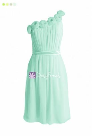 Mint Green Floral Party Dress One-Shoulder Simple Cocktail Bridesmaids Dress Chiffon Dress (BM239S) – DaisyFormals-Bridesmaid and Formal Dresses in 59+ Colors