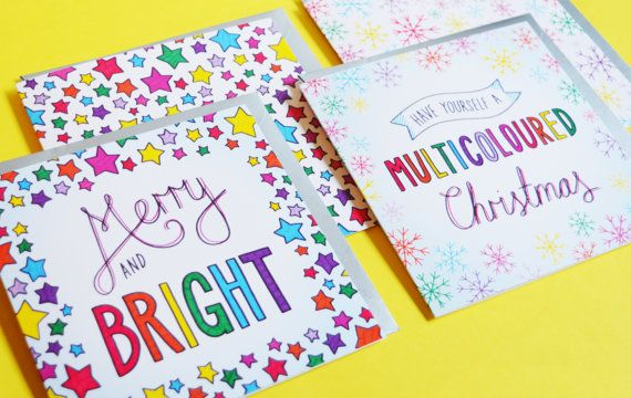 4 pack of Christmas cards by IpDipDesign