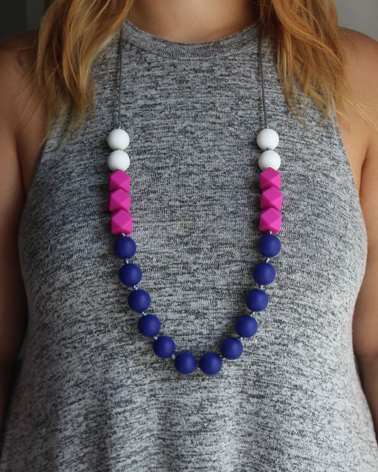Silicone teething necklace with white, fushia and navy beads, for mom and baby.
